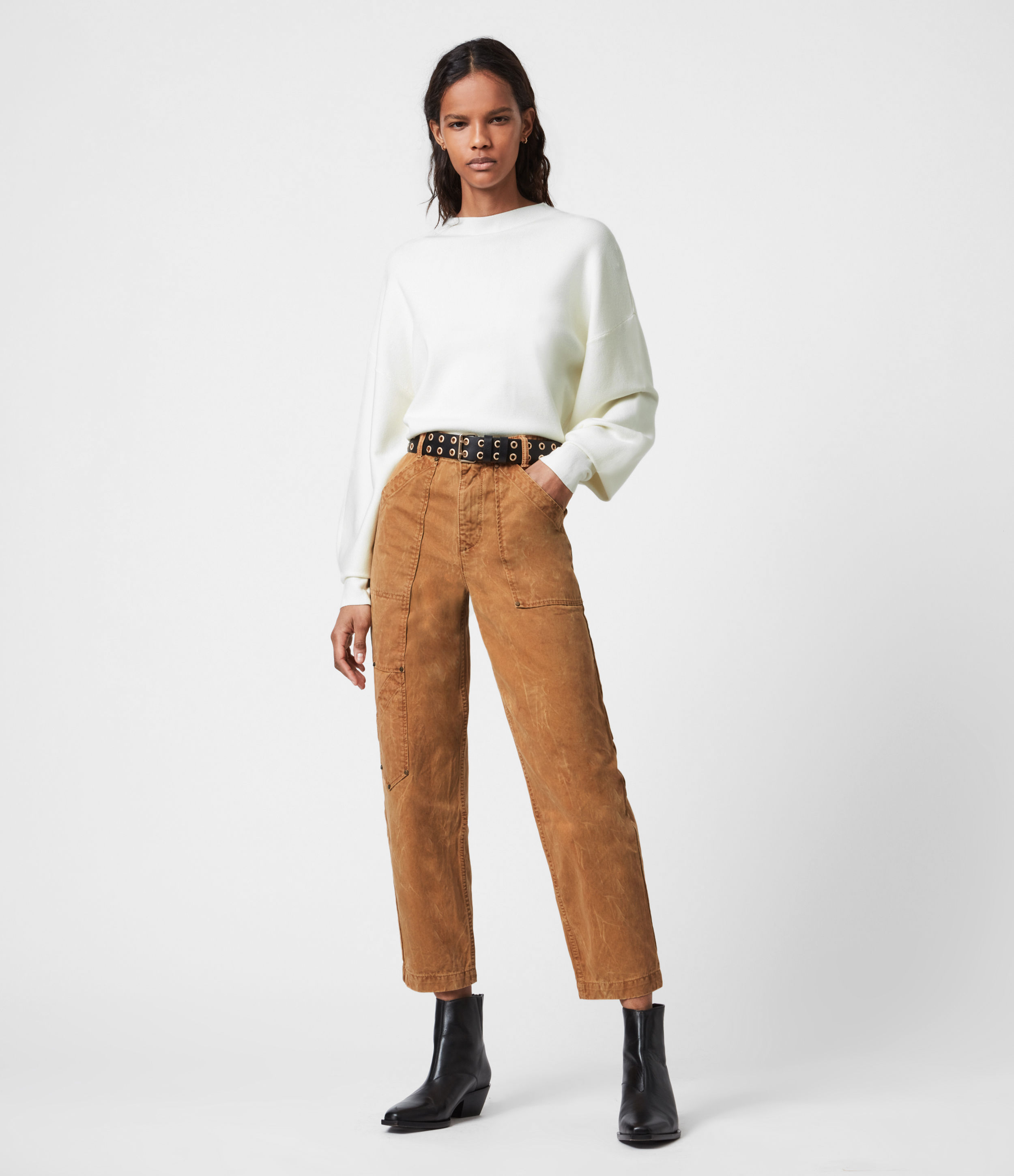 AllSaints Womens Dessa High-Rise Cropped Tapered Trousers, Caramel, Size: 26