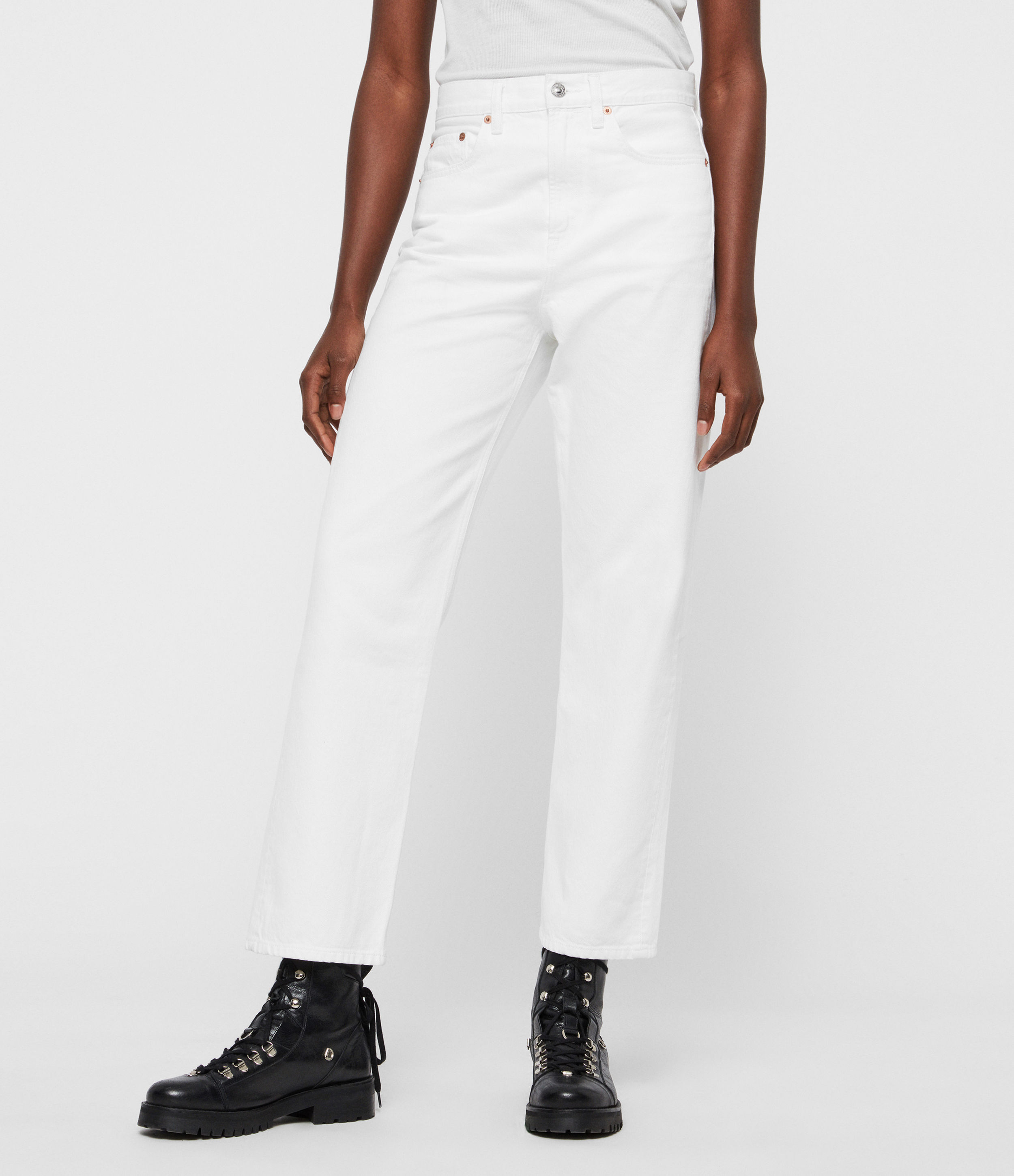 AllSaints Women's Cotton Vintage Mari High-Rise Cropped Boyfriend Jeans, White, Size: 30