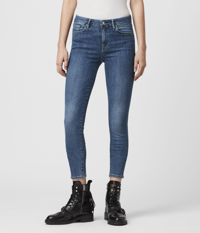 AllSaints Women's Grace Body Shaping Skinny Mid-Rise Jeans, Fresh Blue, Size: 25