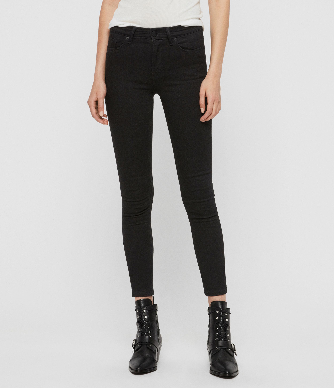 AllSaints Women's Cotton Grace Skinny Mid-Rise Jeans, Black, Size: 32