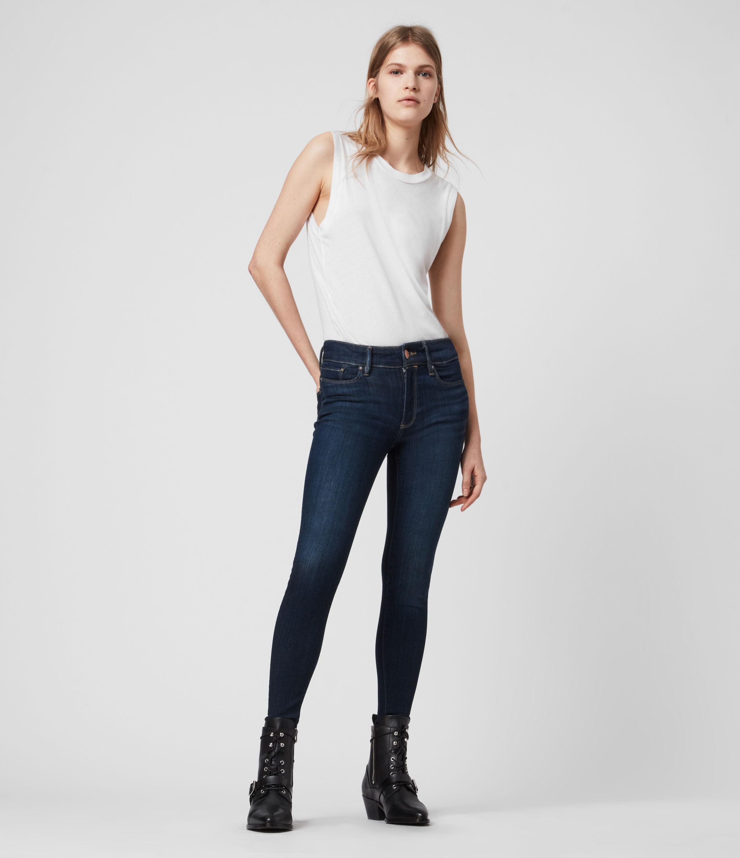 AllSaints Miller Mid-Rise Superstretch Skinny Jeans, Dark Indigo Blue