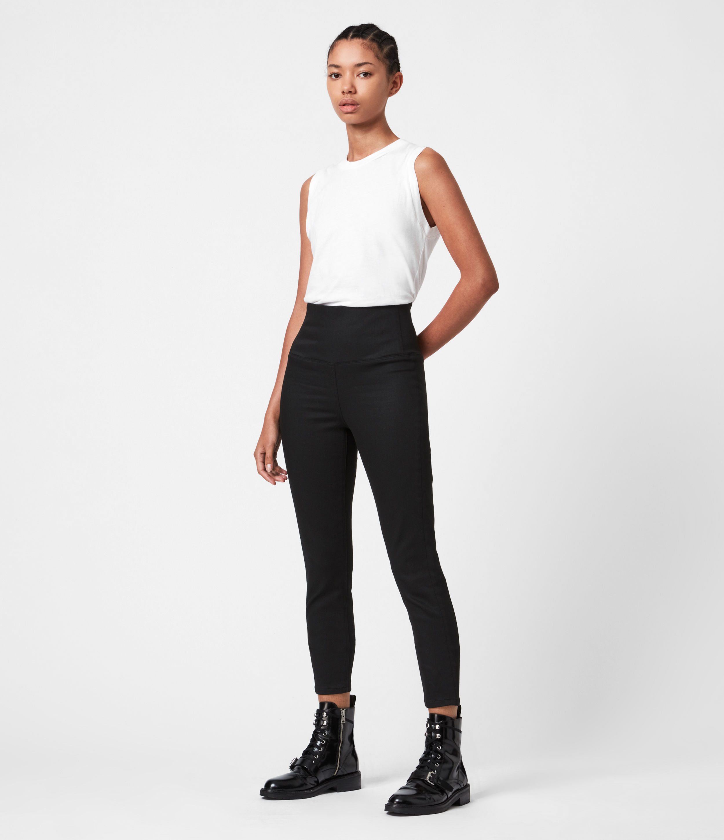 AllSaints Cora High-Rise Zip Denim Leggings, Black