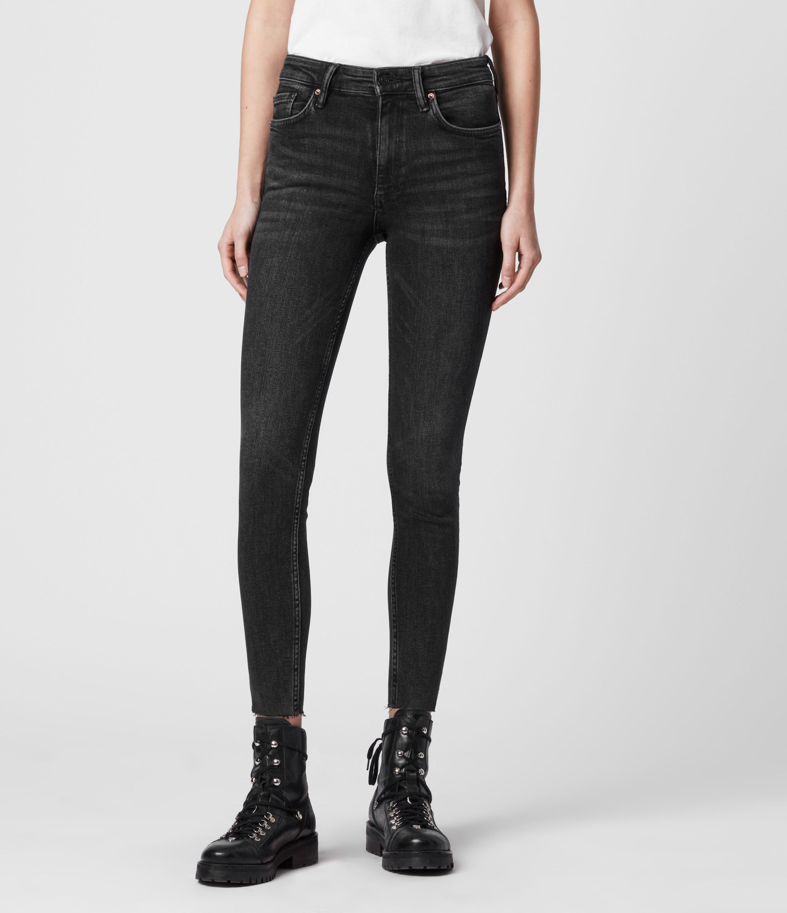 AllSaints Dax Cropped High-Rise Superstretch Shaping Skinny Jeans, Rock Black