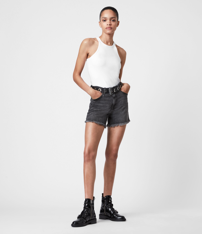 AllSaints Women's Yanni High-Rise Denim Shorts, Black, Size: 25