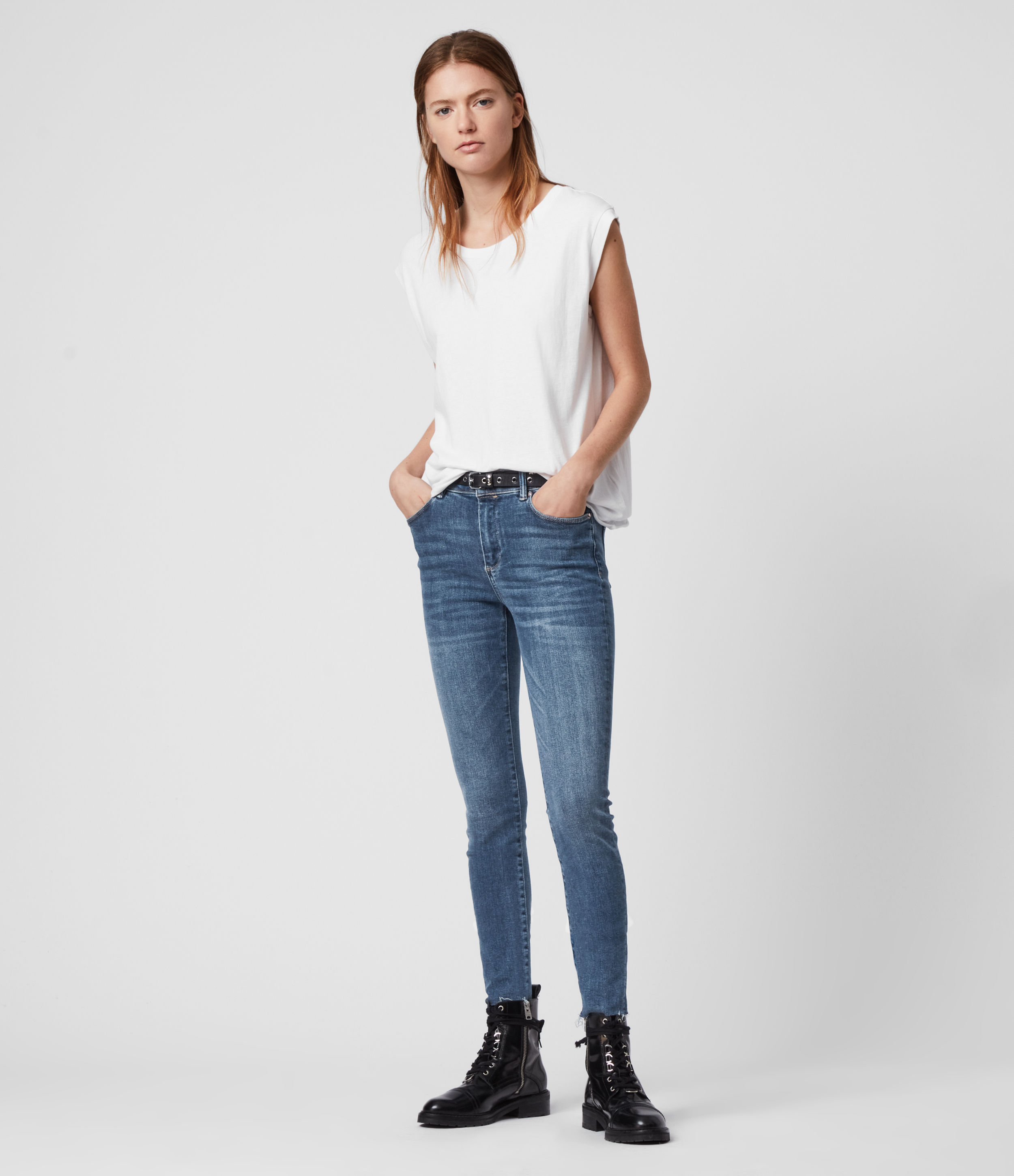 AllSaints Miller Mid-Rise Superstretch Skinny Jeans, Mid Indigo Blue