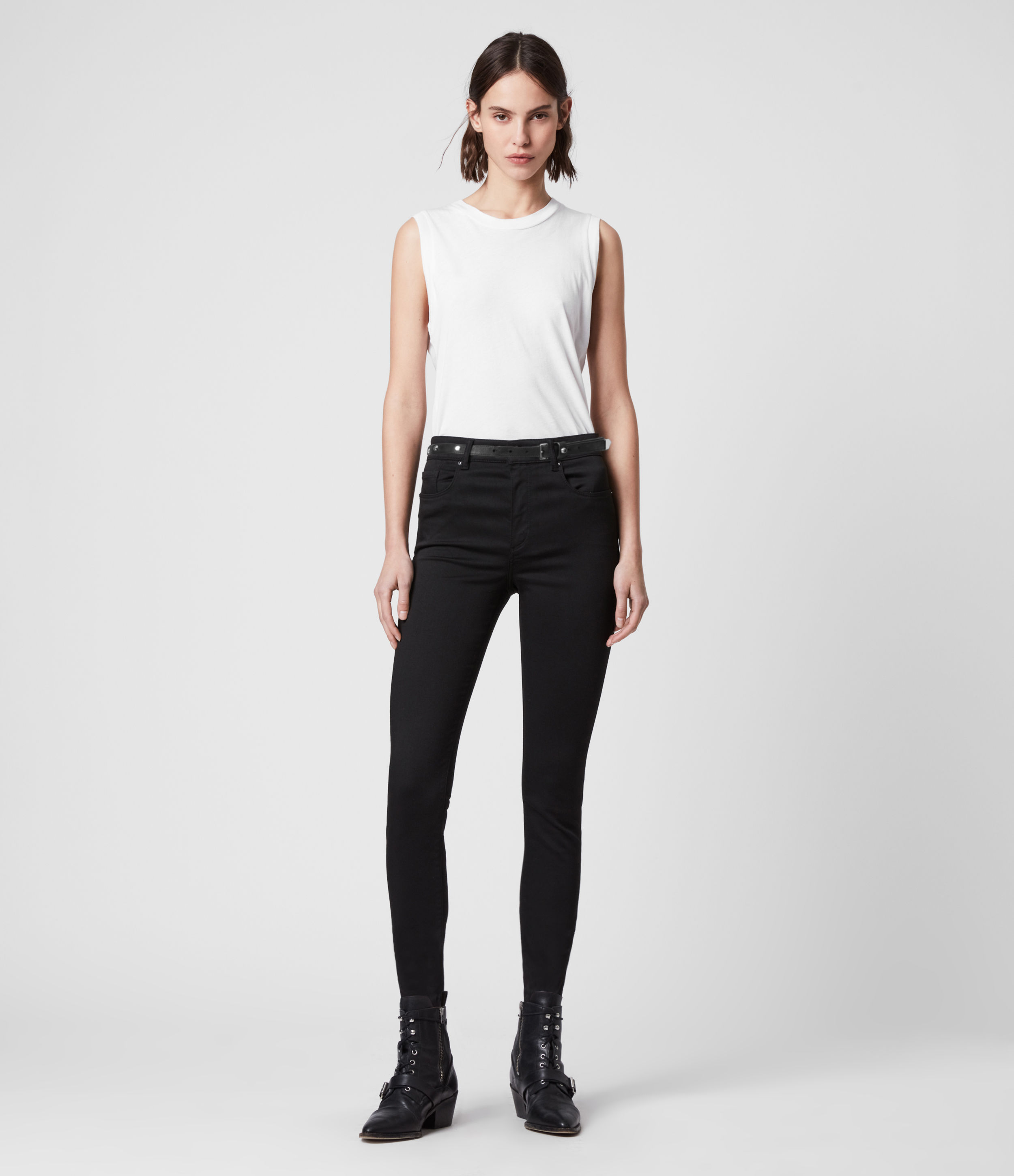 AllSaints Womens Miller Mid-Rise Superstretch Skinny Jeans, Stay Black, Size: 26