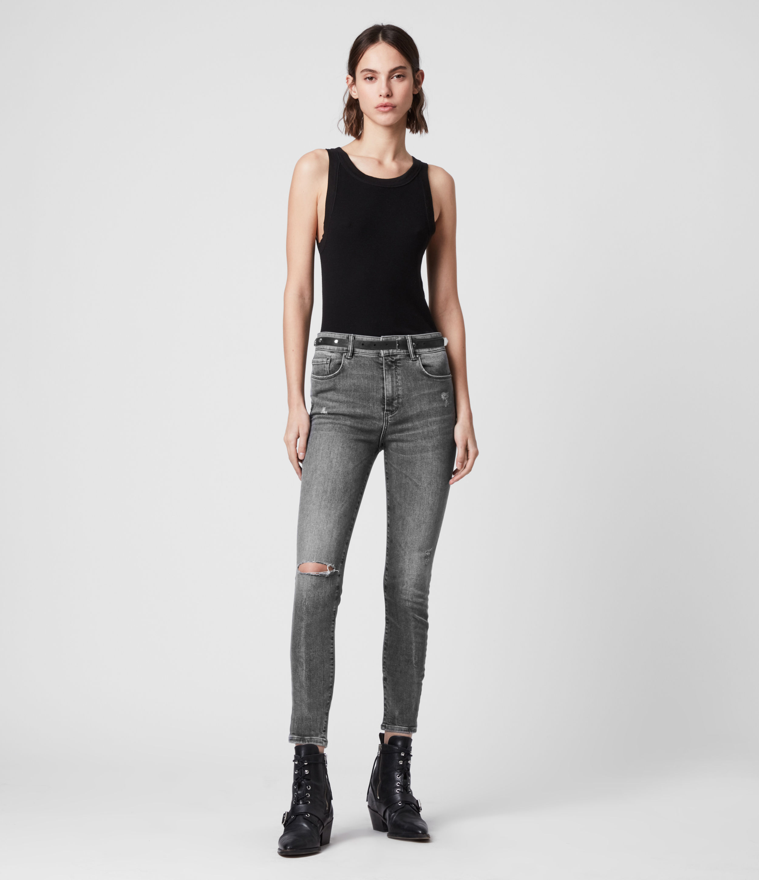 AllSaints Miller Cropped Mid-Rise Superstretch Shaping Skinny Jeans, Washed Grey