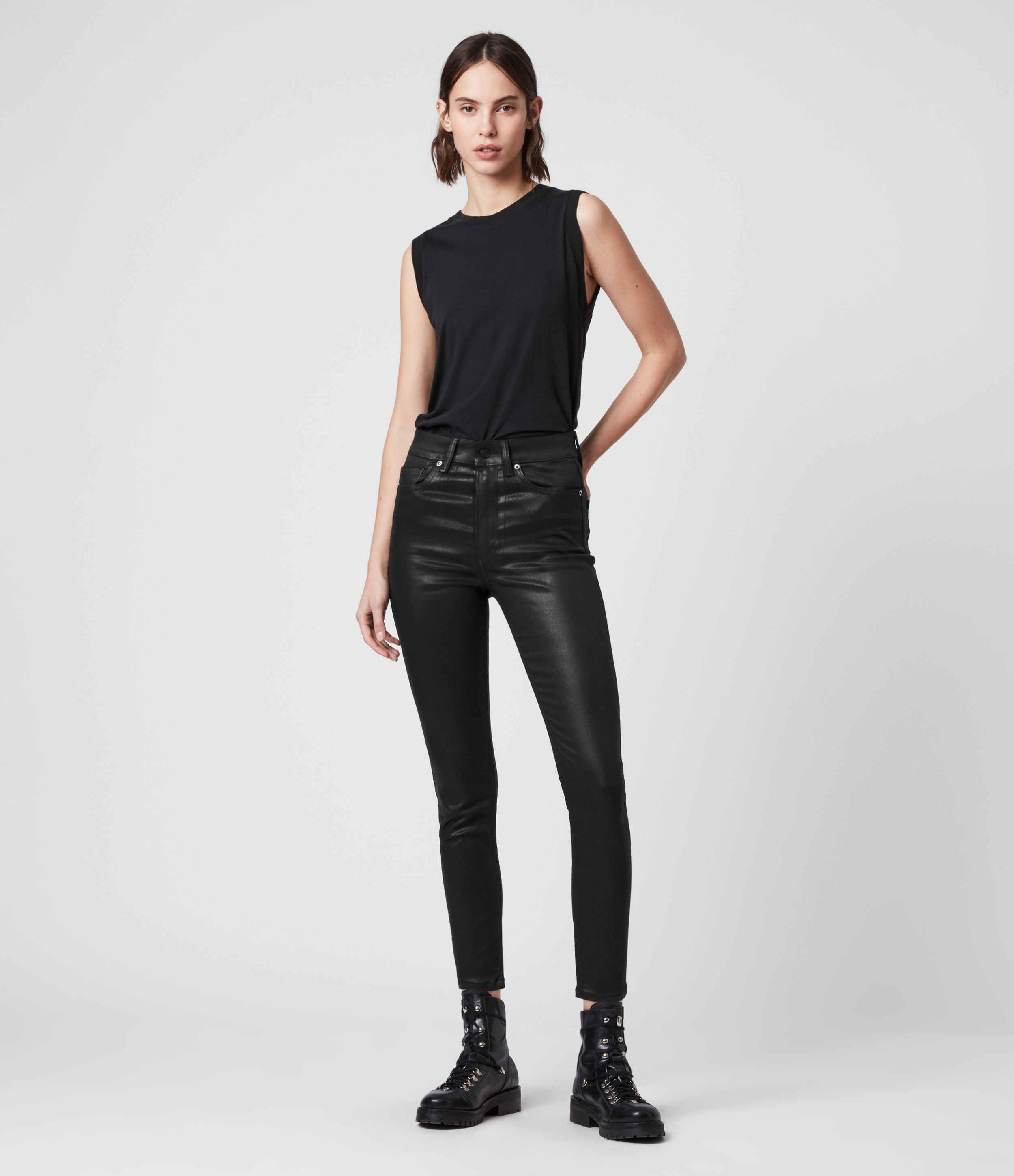 AllSaints Women's Cotton Dax Cropped High-Rise Superstretch Skinny Jeans, Black, Size: 29