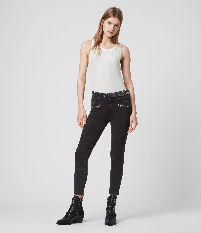 AllSaints Biker Cropped Mid-Rise Bi-Stretch Studded Skinny Jeans, Soft Black