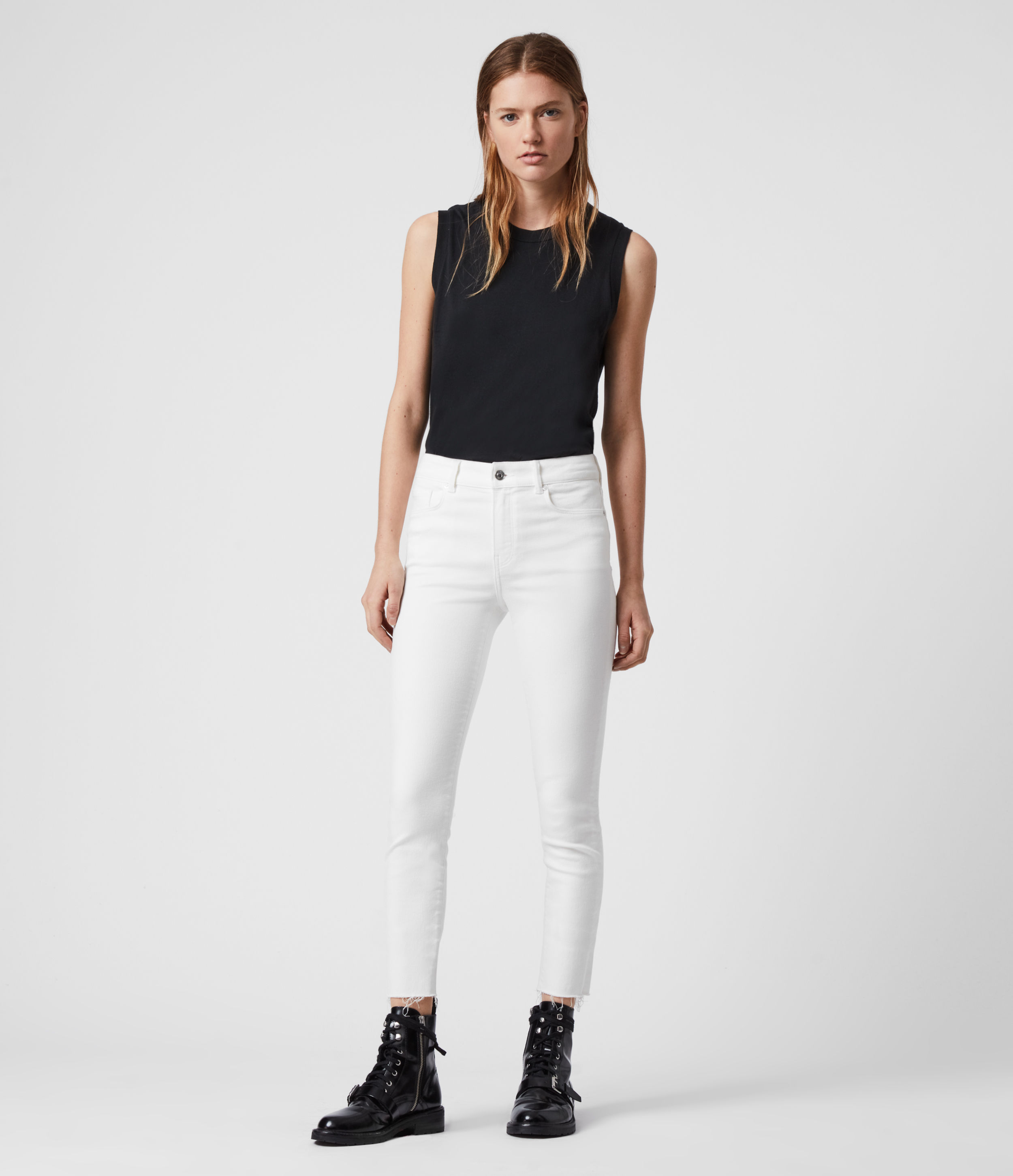 AllSaints Miller Ankle Mid-Rise Superstretch Skinny Jeans, White