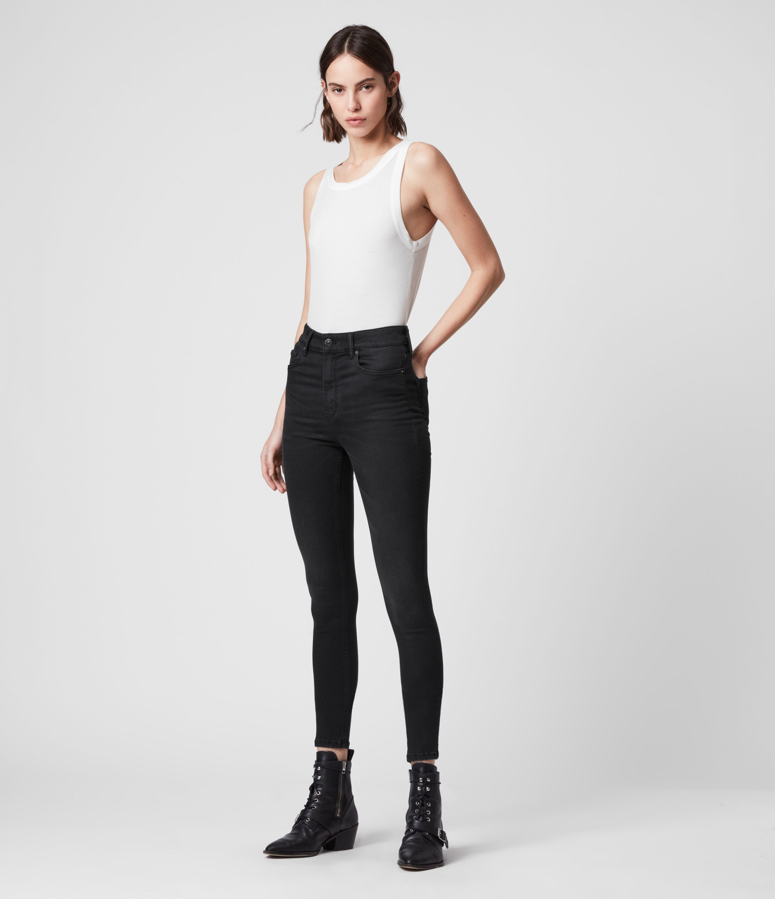 AllSaints Dax High-Rise Superstretch Skinny Jeans, Black