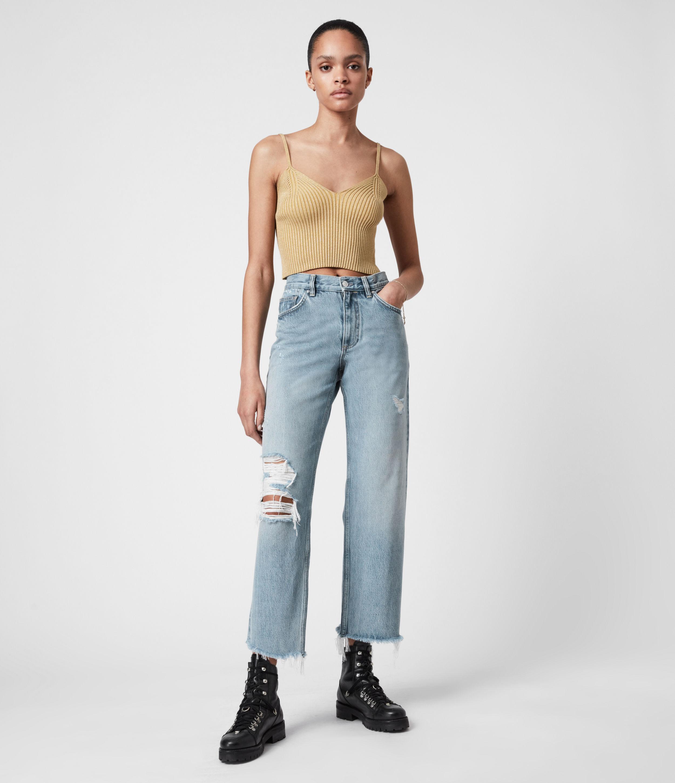 AllSaints Women's April High-Rise Boyfriend Jeans, Light Indigo, Size: 28