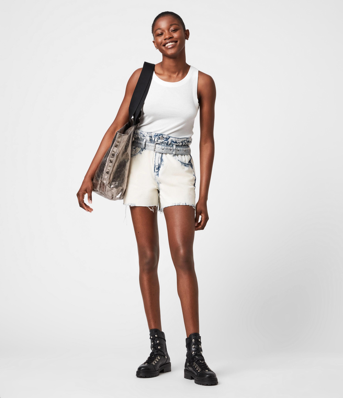 AllSaints Women's Filly High-Rise Paperbag Denim Shorts, Bleach Indigo, Size: 27