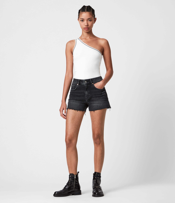 AllSaints Womens Mera Cut Off Denim Shorts, Washed Black, Size: 31