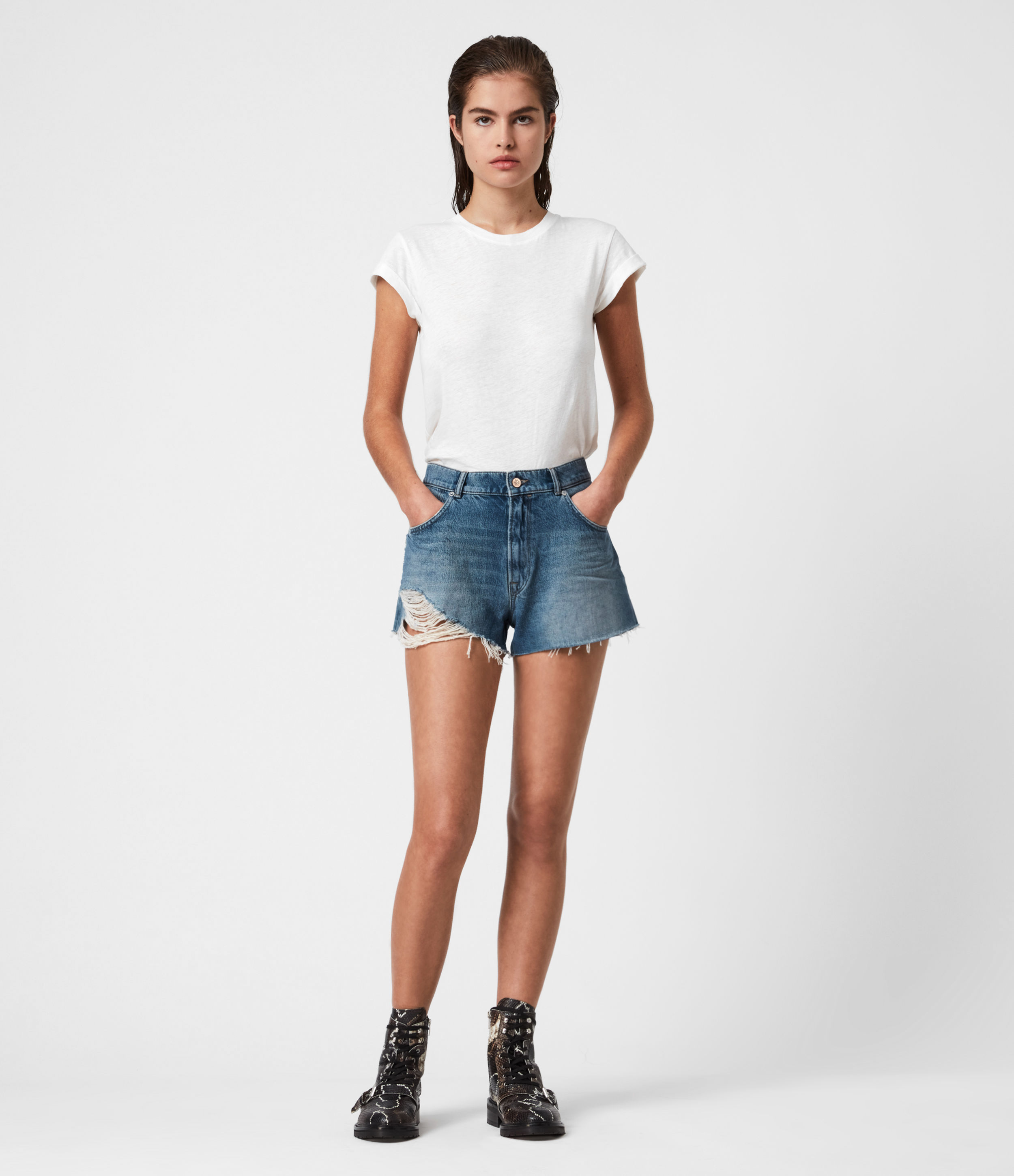 AllSaints Winnie Cut Off High-Rise Denim Shorts