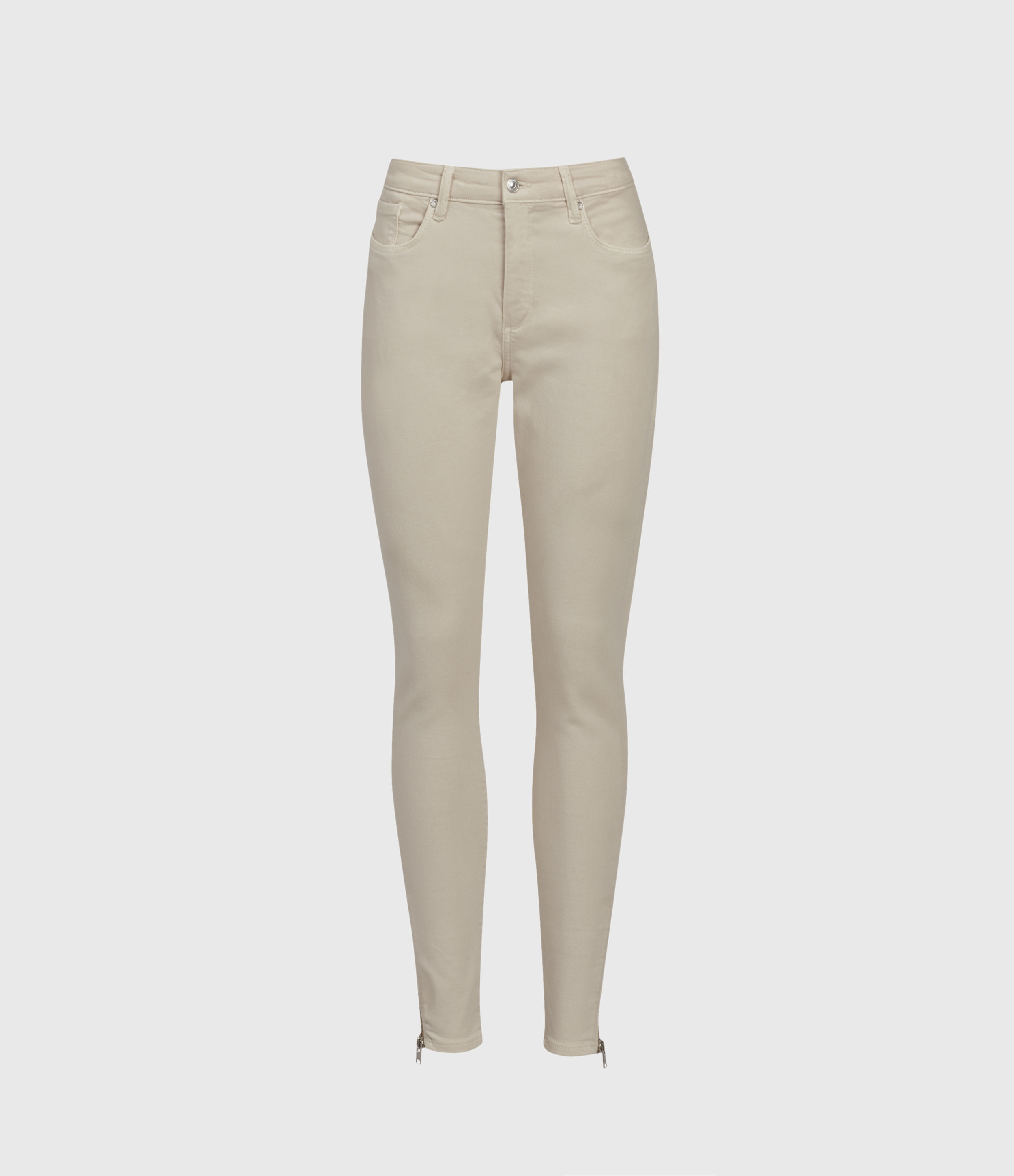 AllSaints Miller Mid-Rise Superstretch Skinny Jeans, Cream