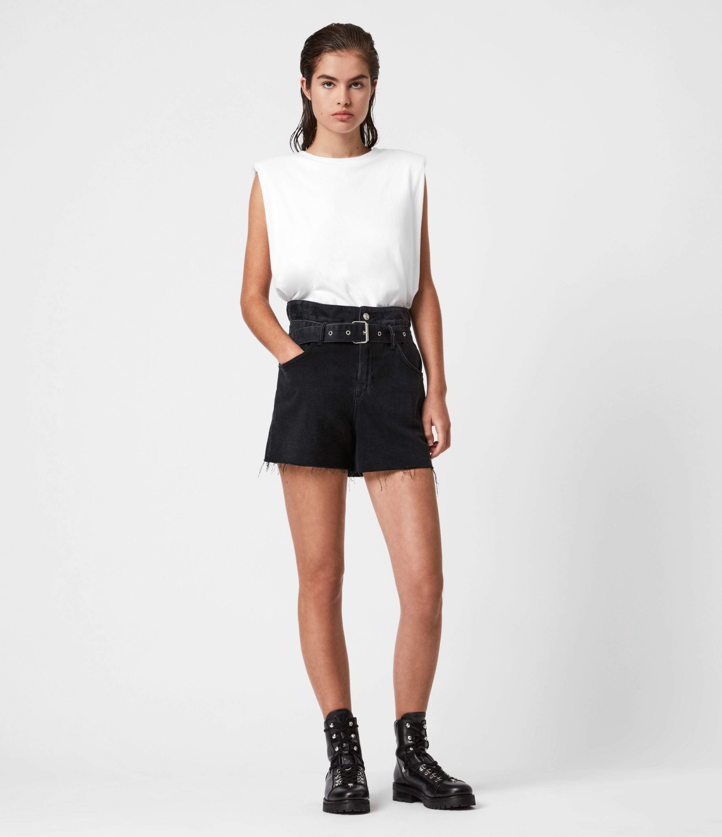 AllSaints Hannah Paperbag Denim Shorts
