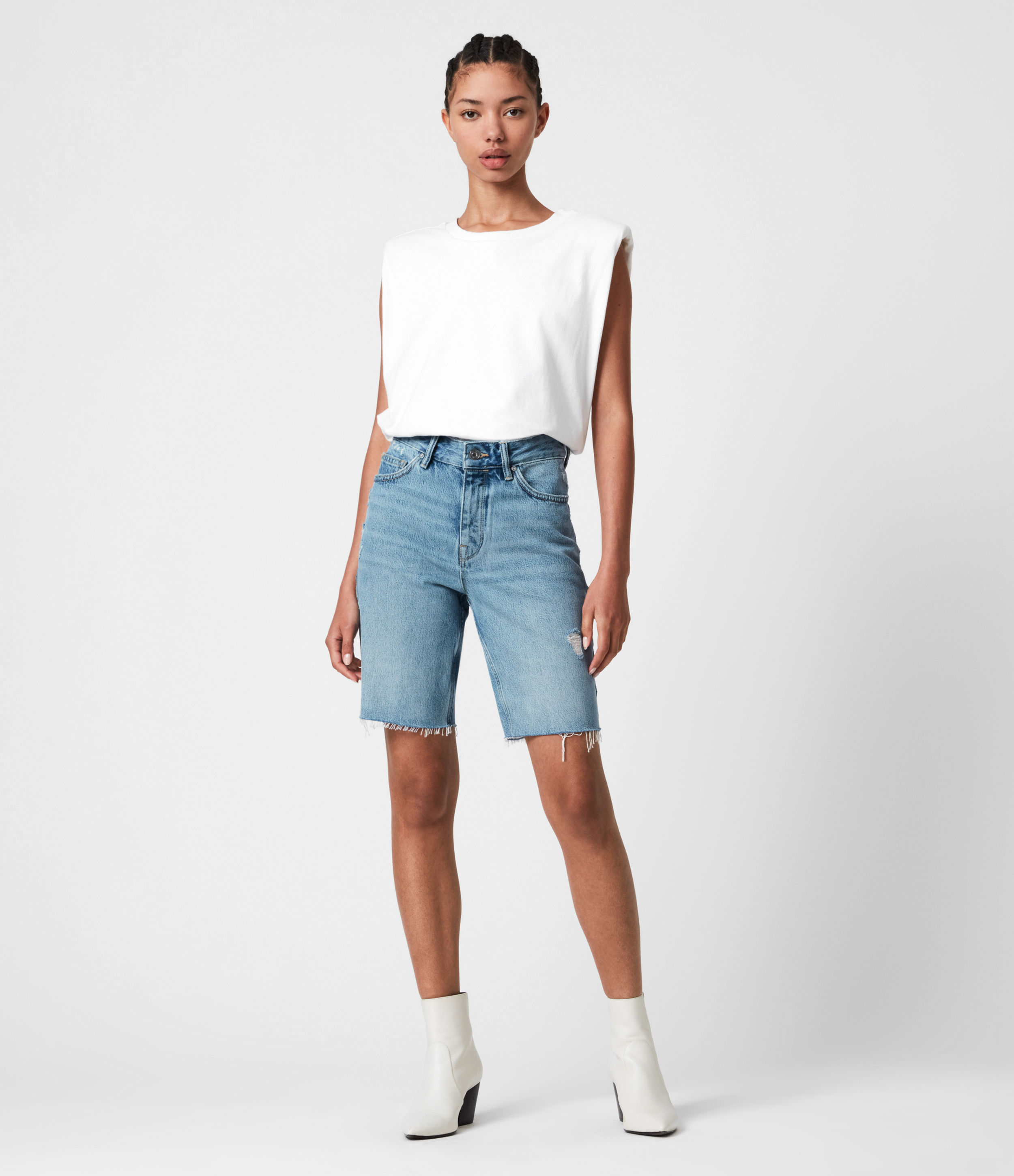 AllSaints Barry Long Denim Shorts