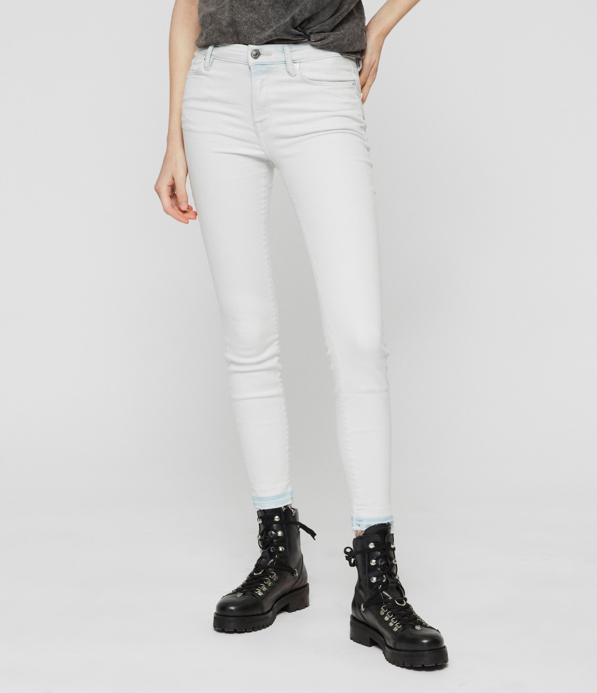 AllSaints Grace Cropped Skinny Mid-Rise Jeans, Bleach Indigo Blue