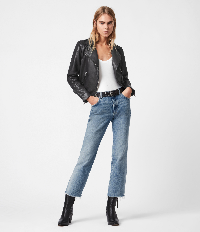 AllSaints Daisy High-Rise Kick Flare Jeans, Mid Indigo