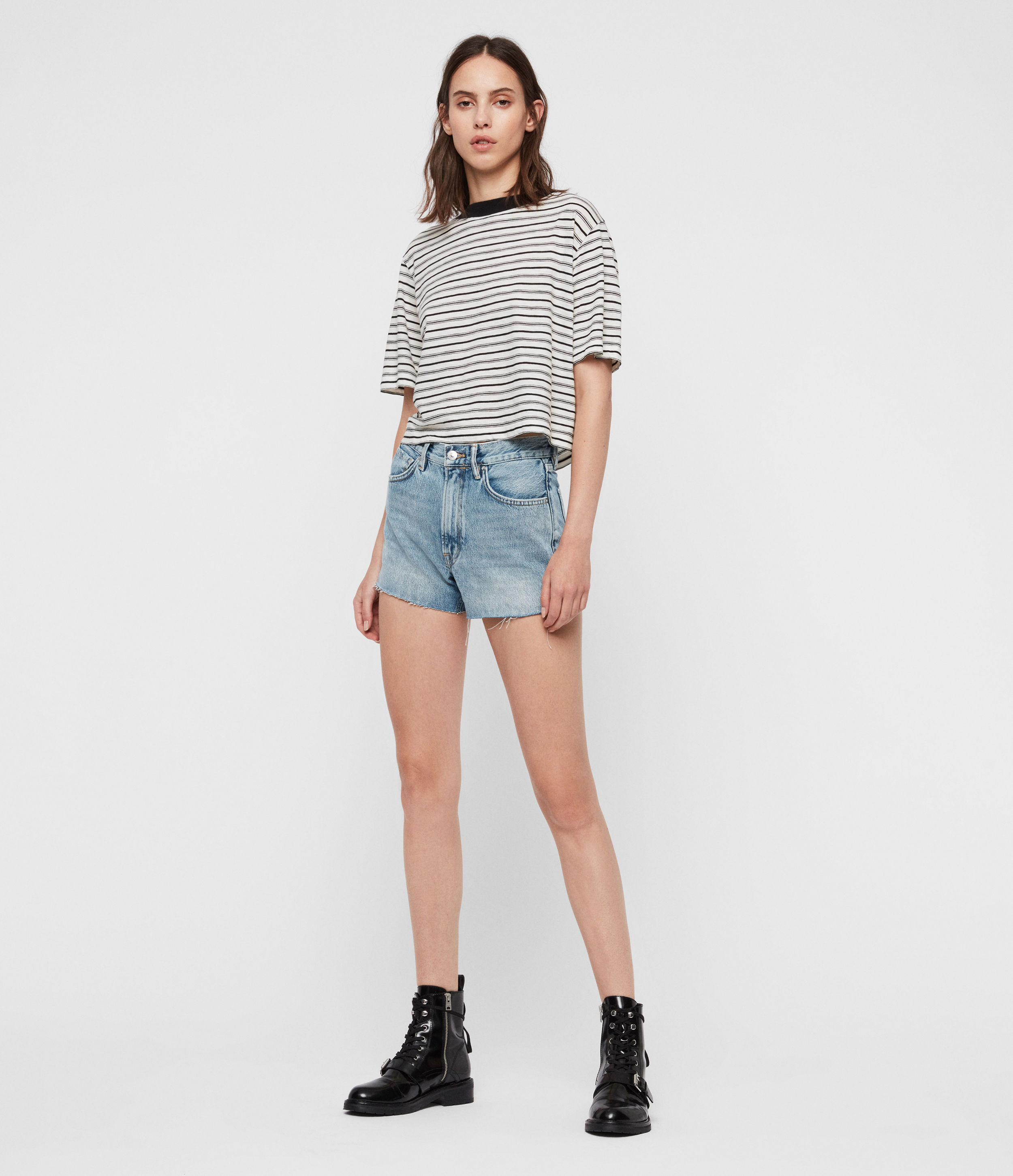 AllSaints Paula High-Rise Denim Shorts