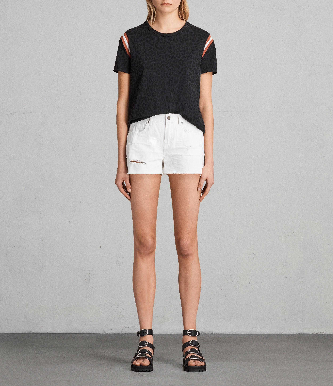 AllSaints Serene Embroidered Denim Shorts