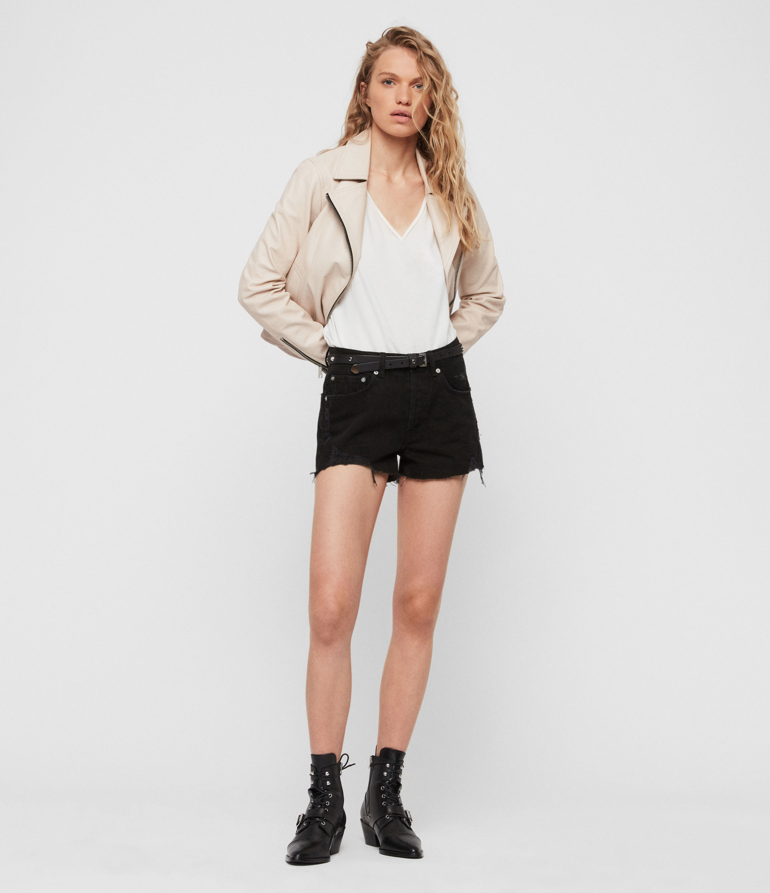 AllSaints Mai Destroyed High-Rise Denim Shorts