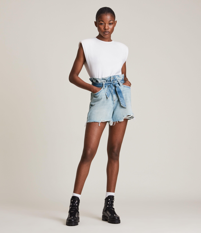 AllSaints Women's Cotton Hannah Paperbag Denim Shirts, Blue, Size: 32