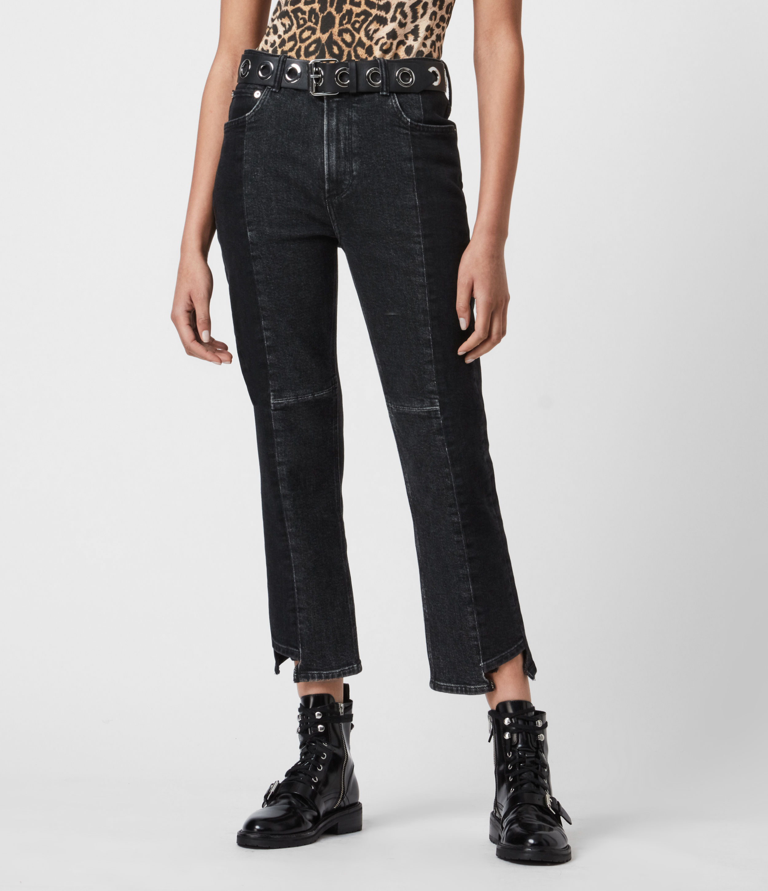 AllSaints Womens Kim Two-Tone High-Rise Slim Jeans, Black, Size: 32