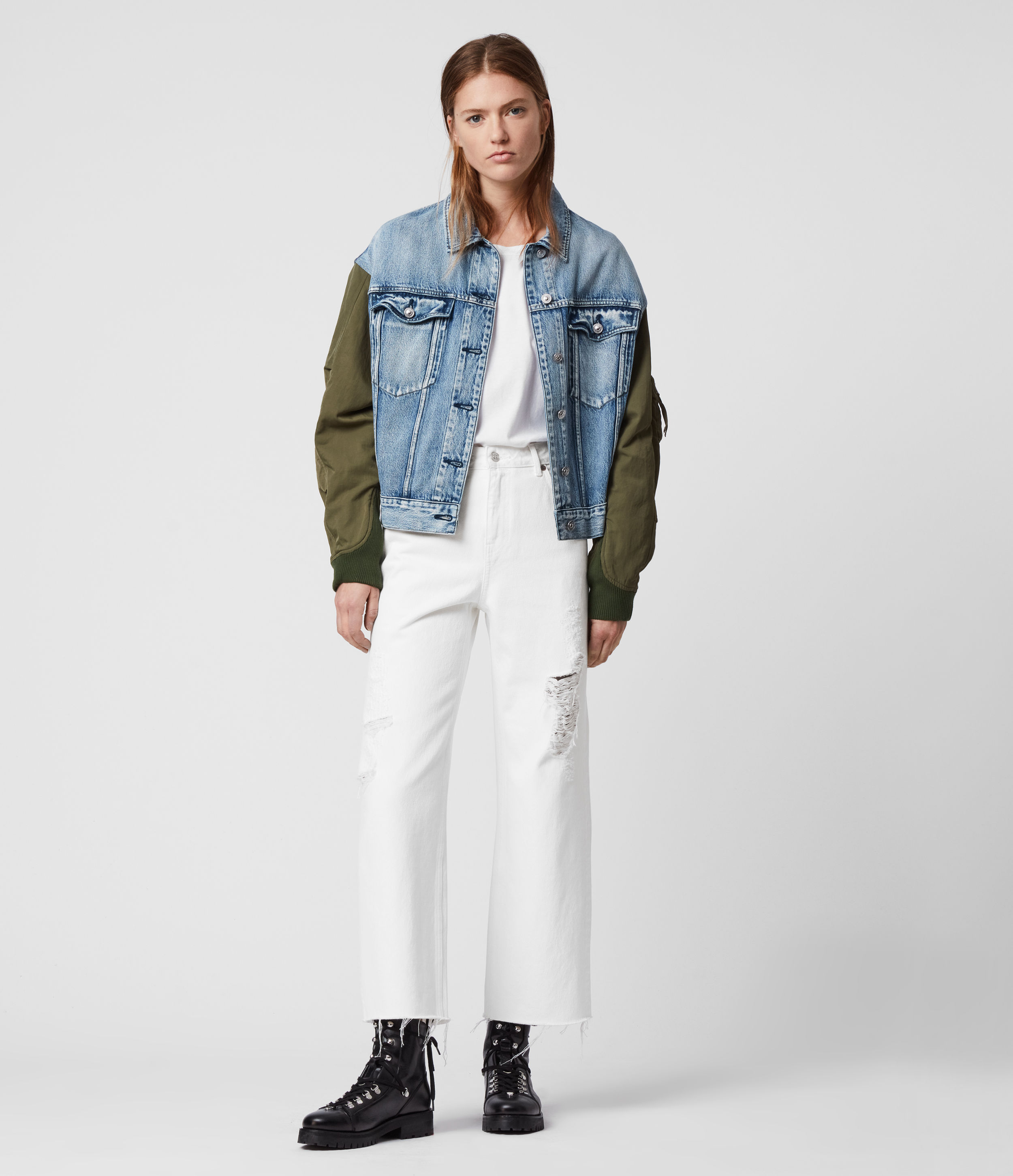 AllSaints Ash Cropped High-Rise Distressed Boyfriend Jeans, White