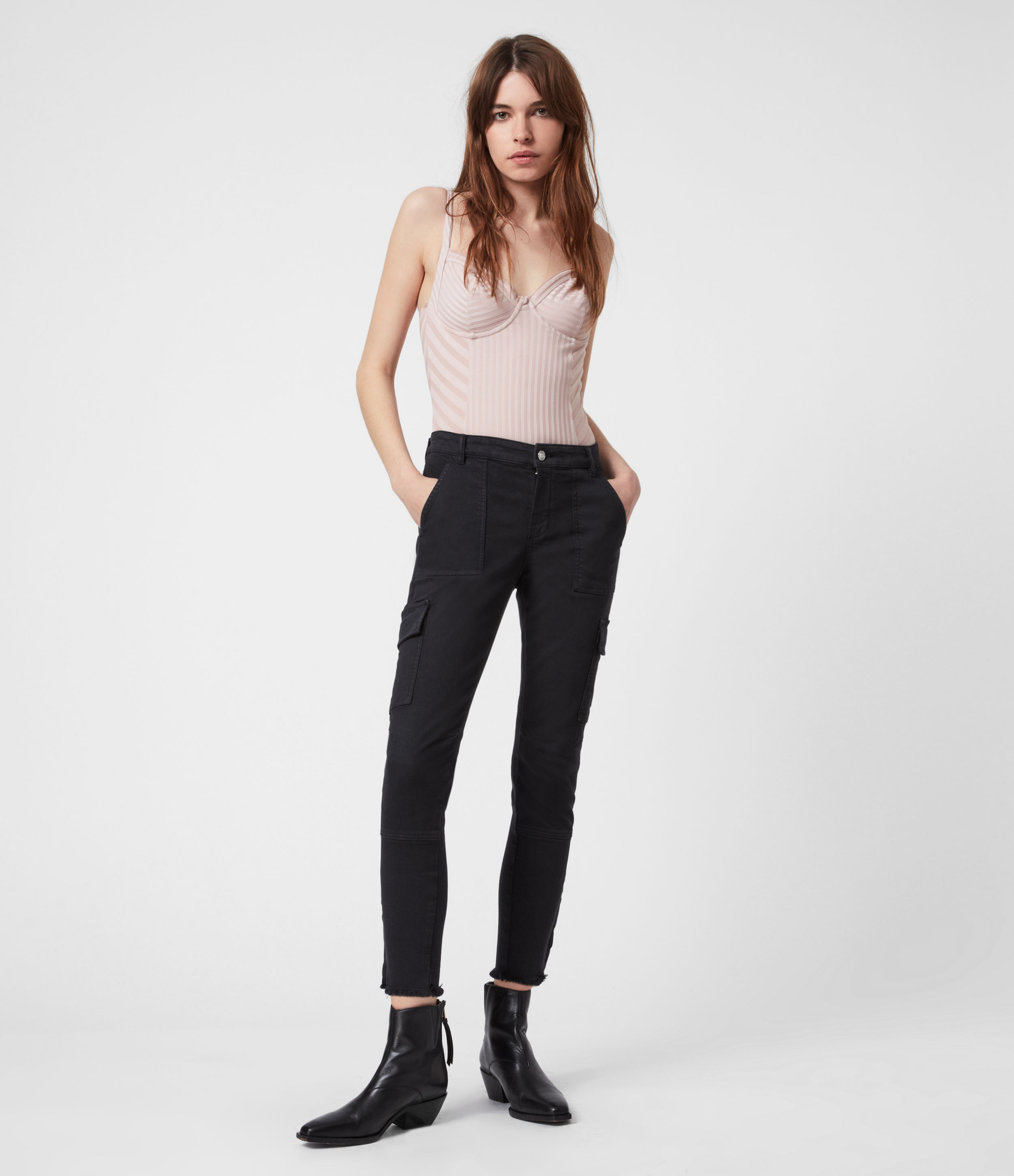 AllSaints Duran Mid-Rise Superstretch Skinny Cargo Jeans, Black