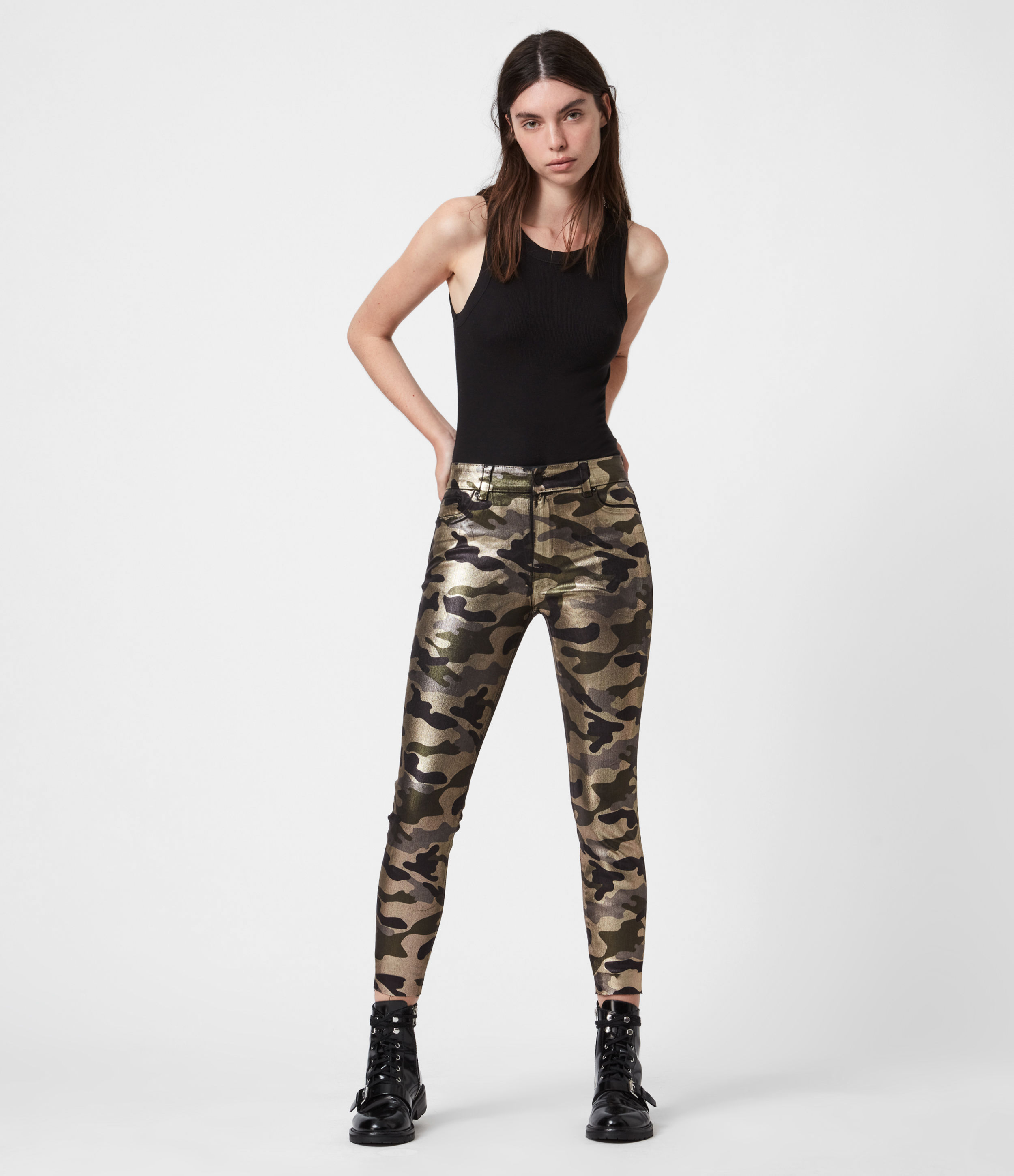AllSaints Miller Mid-Rise Camouflage Skinny Jeans, Gold