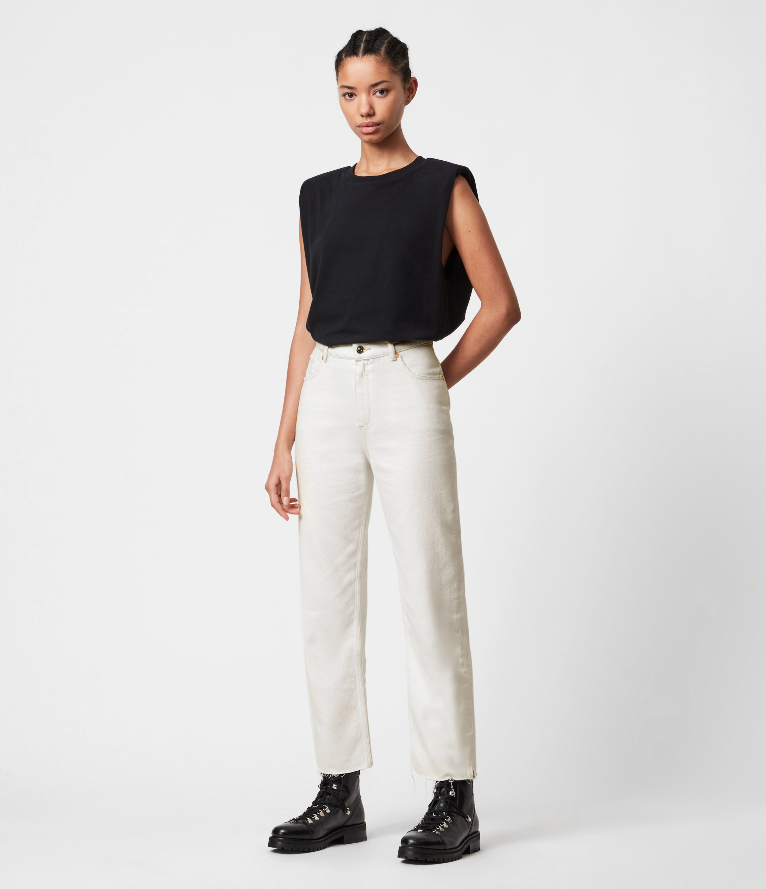 AllSaints Cali High-Rise Straight Jeans, Natural White