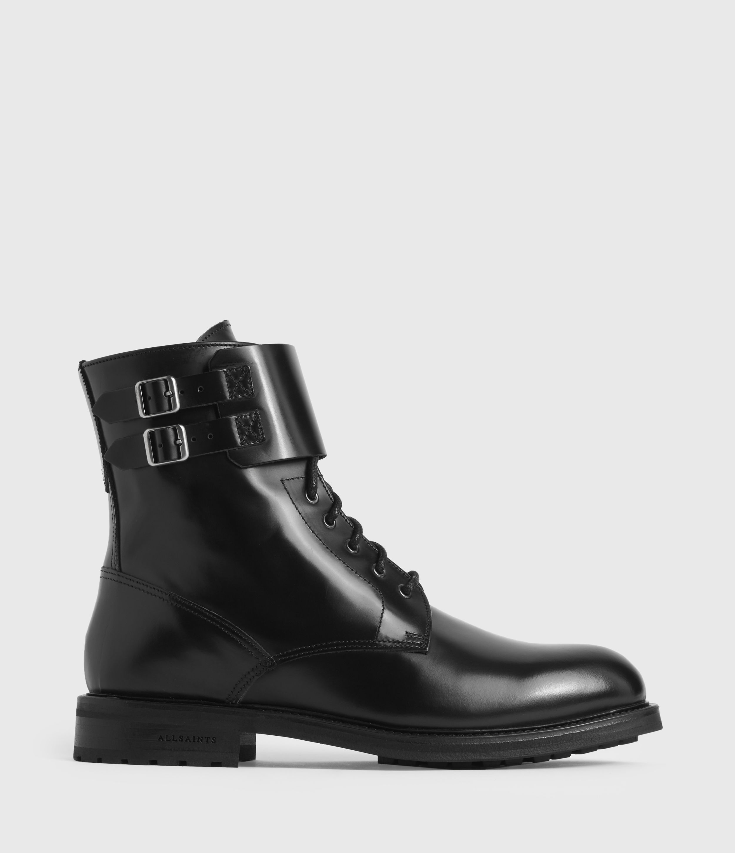 AllSaints Women's Smooth Leather Military-Inspired Brigade Boots, Black, Size: UK 4/US 6/EU 37