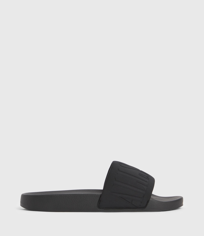 AllSaints Women's Signet Neoprene Sliders, Black, Size: UK 7/US 9/EU 40