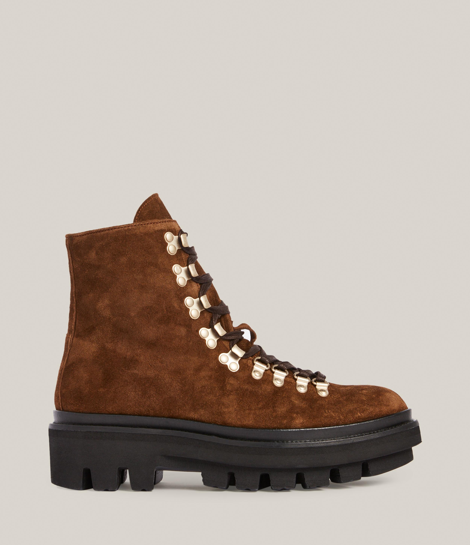 AllSaints Women's Wanda Suede Boot, Warm TAN, Size: UK 4/US 6/EU 37