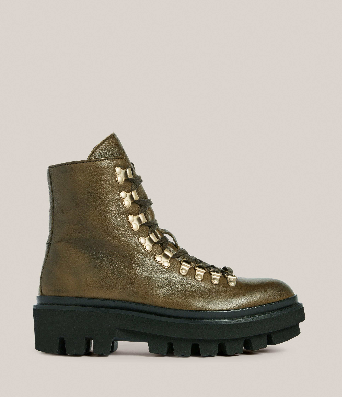 AllSaints Women's Wanda Leather Boots, Khaki, Size: UK 5/US 7/EU 38