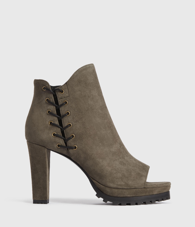 AllSaints Women's Leather Micaela Suede Boots, Green, Size: UK 8/US 10/EU 41