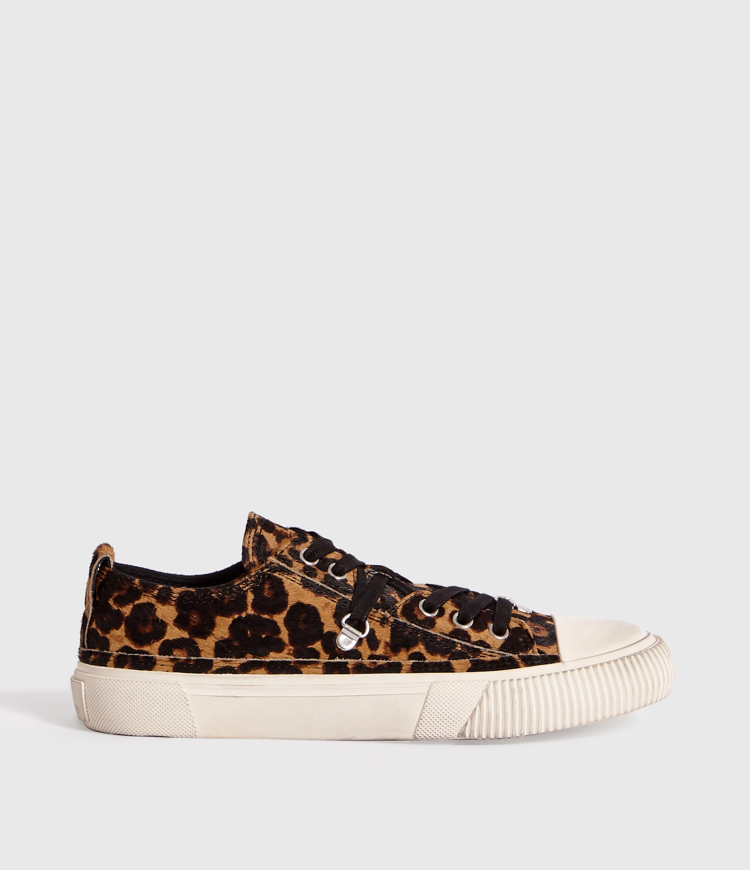 AllSaints Women's Leather Leopard Print Jazmin Trainer, Brown and Black, Size: UK 4/US 6/EU 37