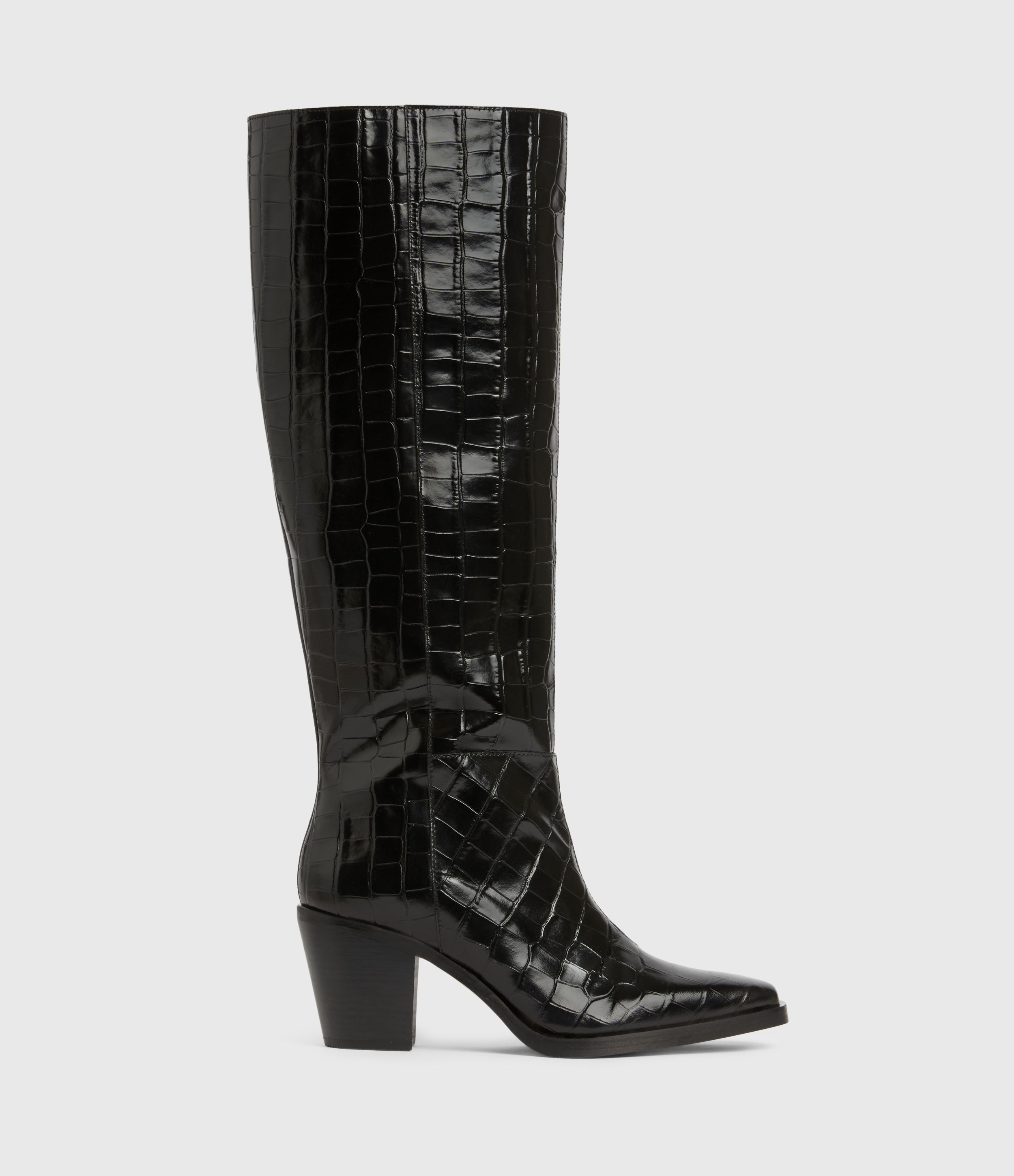 AllSaints Cohen Crocodile Knee High Leather Boots