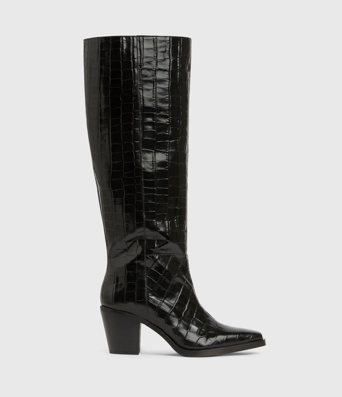 AllSaints Womens Cohen Crocodile Knee High Leather Boots, Black, Size: UK 3/US 5/EU 36