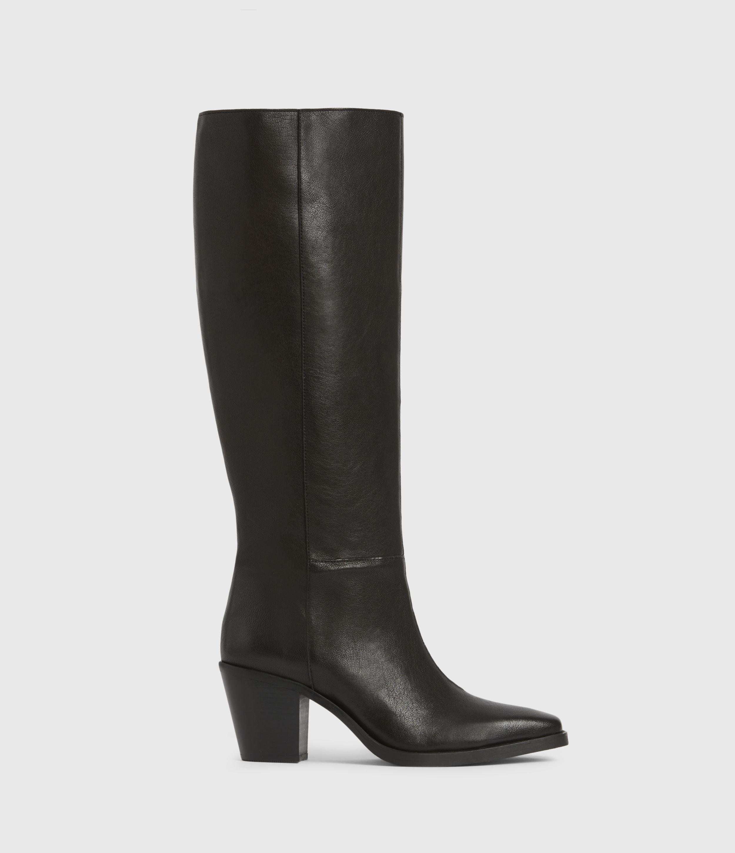 AllSaints Women's Leather Cohen Knee High Boots, Black, Size: UK 3/US 5/EU 36