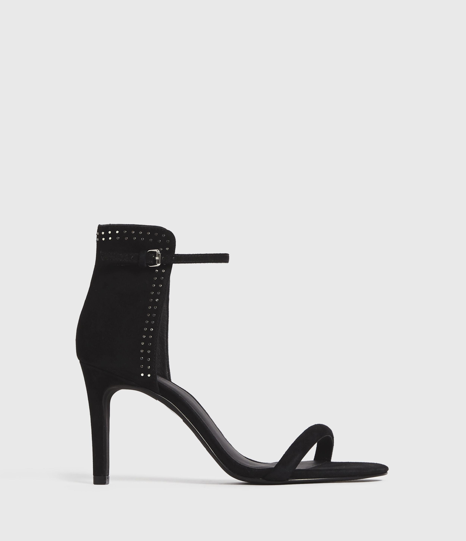 AllSaints Women's Suede Avia Sandals, Black, Size: UK 4/US 6/EU 37