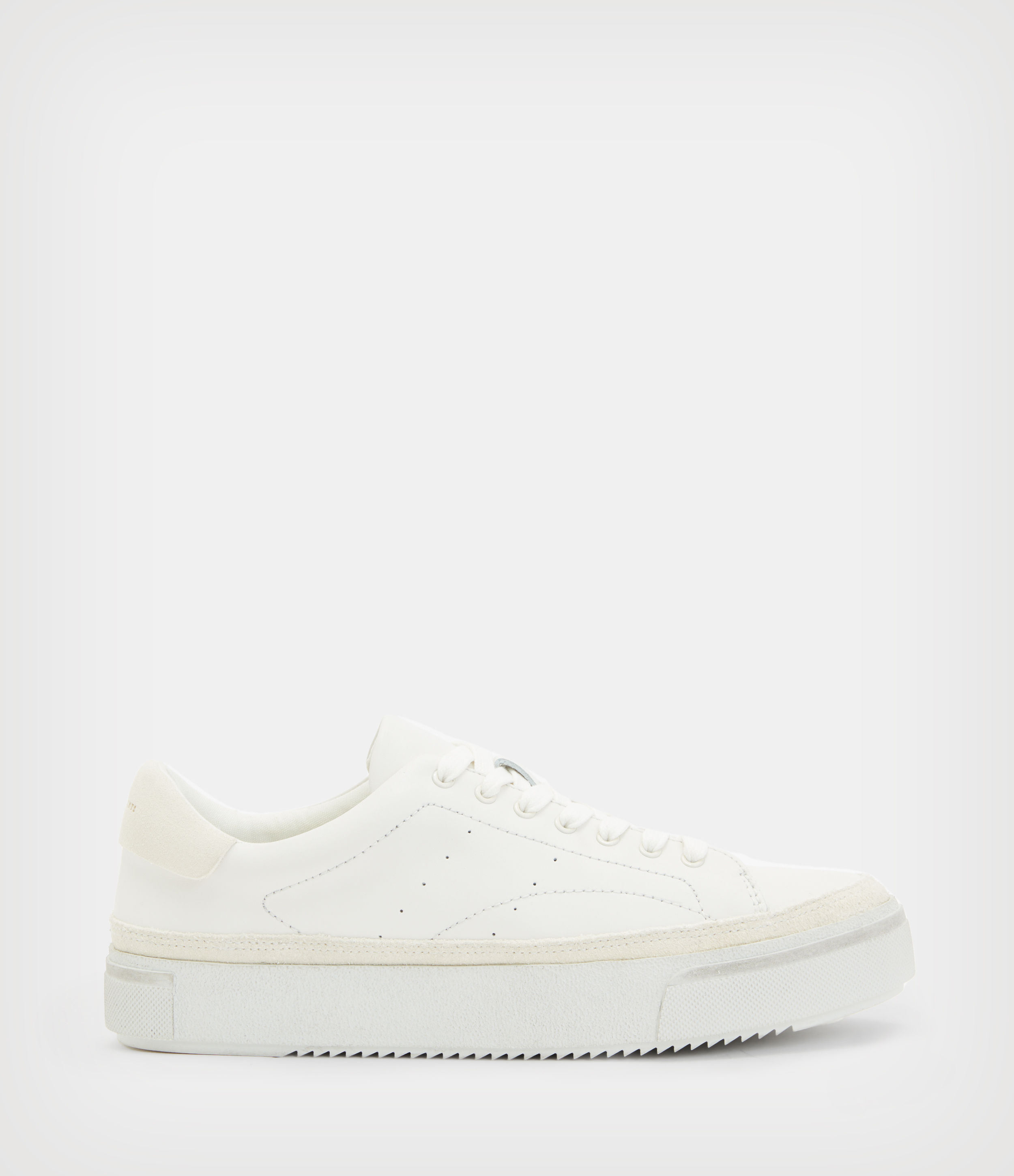 AllSaints Women's Leather Cow Trish Trainers, White, Size: UK 7