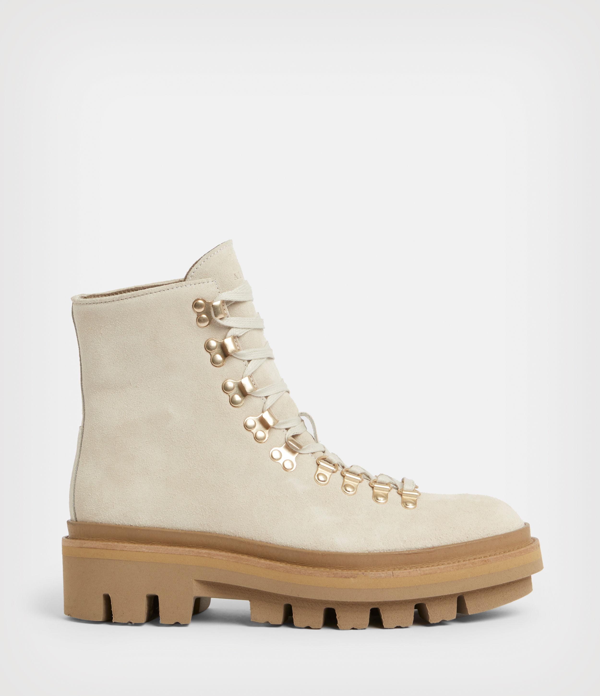 AllSaints Women's Wanda Suede Boots, White, Size: UK 4/US 6/EU 37