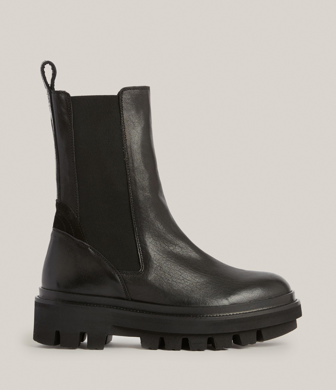 AllSaints Womens Billie Leather Boots, Black, Size: UK 3/US 5/EU 36
