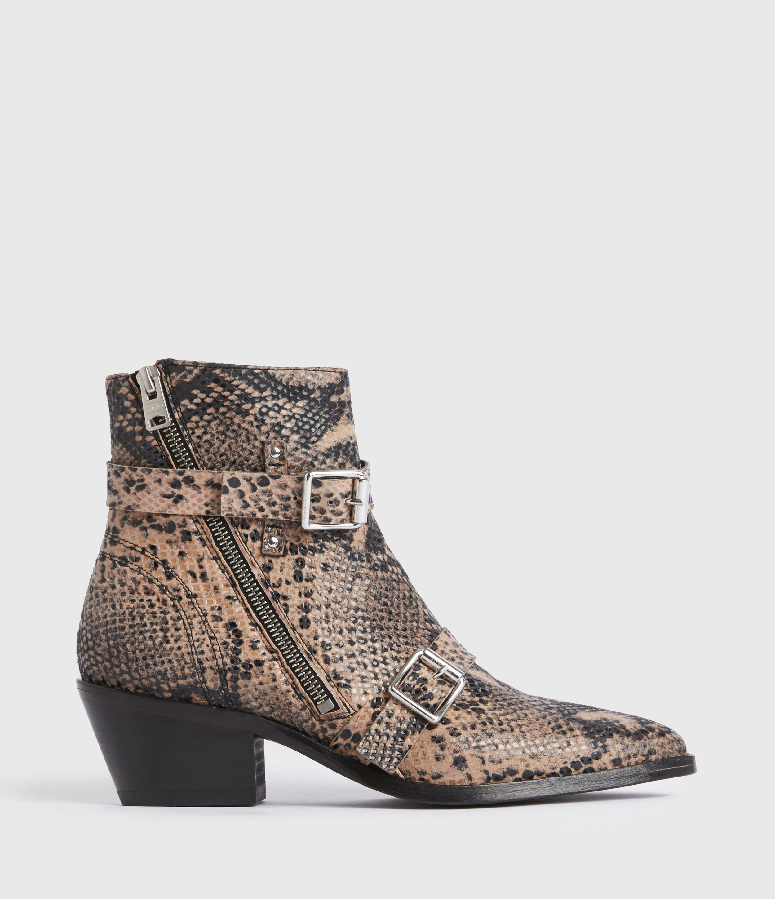 AllSaints Women's Leather Snakeskin Print Lior Boots, Taupe, Size: UK 6/US 8/EU 39