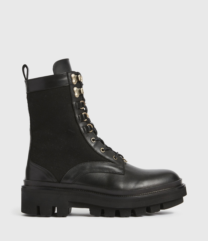 AllSaints Women's Beth Leather Boots, Black, Size: UK 8/US 10/EU 41