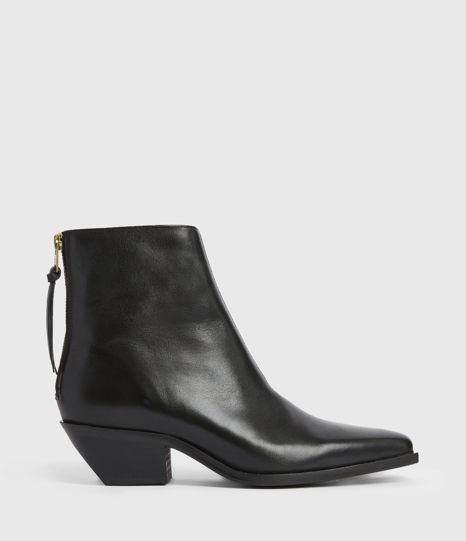 AllSaints Womens Lenora Leather Boots, Black, Size: UK 8/US 10/EU 41