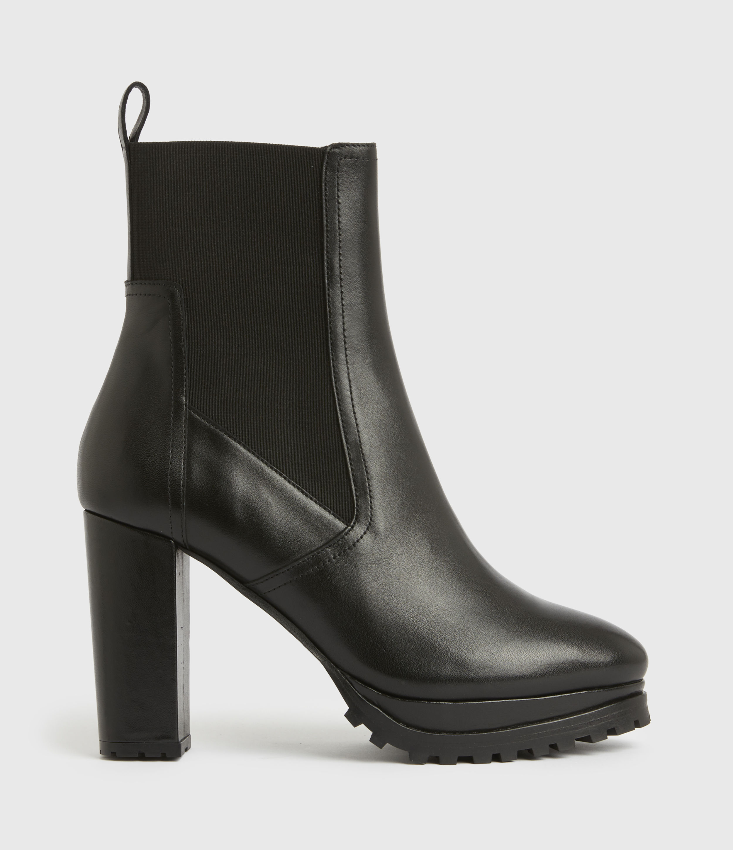 AllSaints Womens Sahara Leather Boots, Black, Size: UK 4/US 6/EU 37
